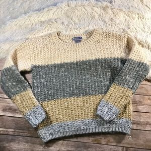 Color block striped wool blend sweater